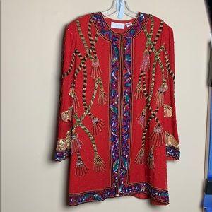 Vintage Lawrence Kazar Beaded Sequins 3X Jacket